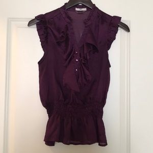 Plum Sleeveless Blouse with Ruffles
